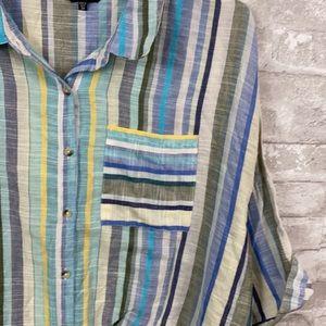 Unique Spectrum cotton striped button down shirt